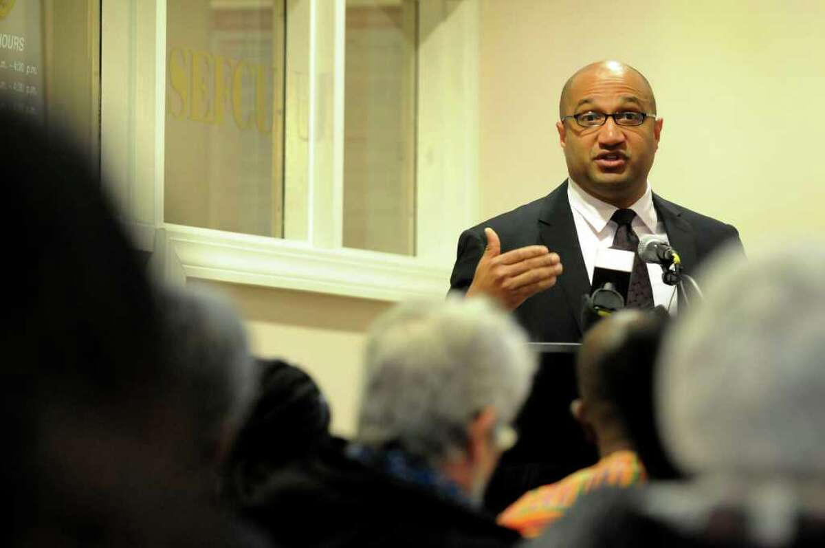 Albany County District Attorney David Soares speaks during a forum on the Grand Jury's decision regarding the death of Nah-Cream Moore on Thursday, March 29, 2012, at Albany Housing Authority in Albany, N.Y. (Cindy Schultz / Times Union)