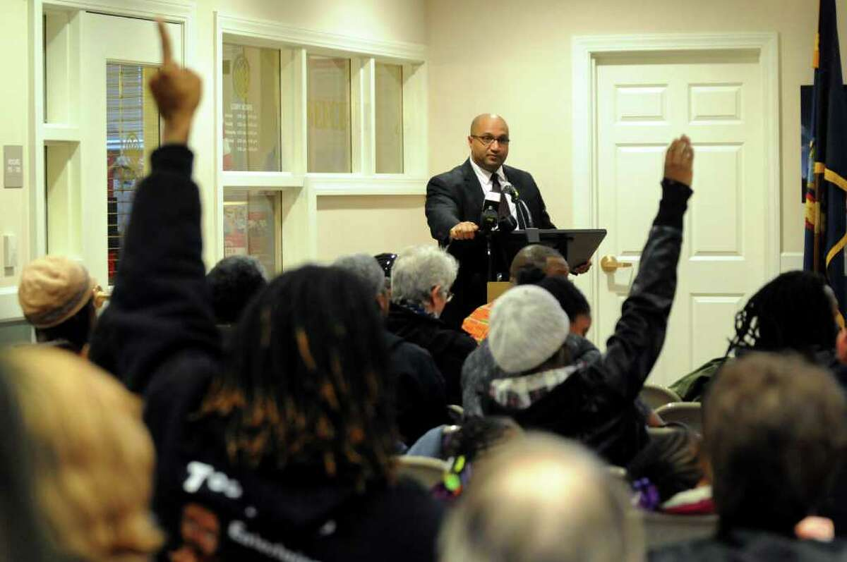 Albany County District Attorney David Soares fields questions during a forum on the Grand Jury's decision regarding the death of Nah-Cream Moore on Thursday, March 29, 2012, at Albany Housing Authority in Albany, N.Y. (Cindy Schultz / Times Union)