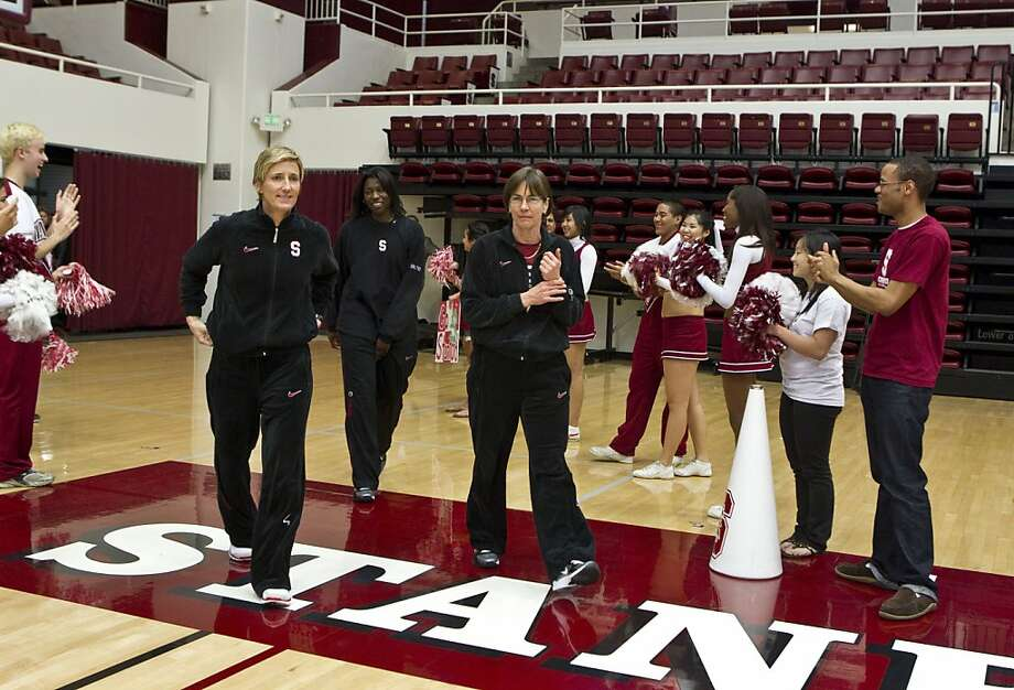 Stanford women's basketball coaches Kate Paye, Bobbie Kelsey and Tara VanDerveer (left to right) enter Maples Pavilion during a rally to celebrate the team's return from the NCAA tournament at Stanford University in Palo Alto, Calif., on Wednesday, April 7, 2010.  The team made it to the championship game, but lost to the University of Connecticut. Photo: Laura Morton, Special To The Chronicle