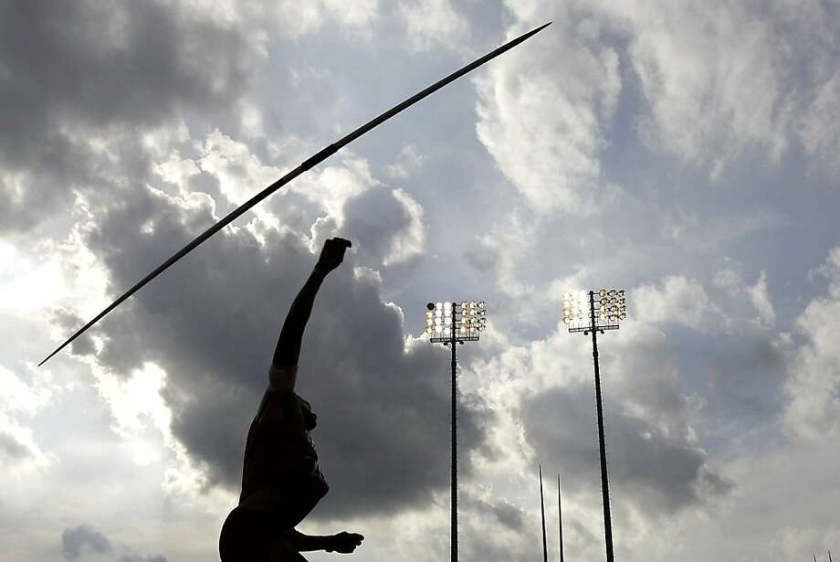 Texas' Isaac Murphy competes in the javelin portion of the decathlon during the Texas Relays athletics meet, Thursday, March 29, 2012, in Austin, Texas. (AP Photo/Eric Gay) Photo: Eric Gay, Associated Press