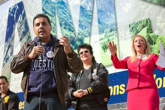 José Hernández speaks at a rally at Teamster's Union Local 948 supporting him in his bid for Congress in California's newly drawn 10th district as a democrat. As a child, Hernández helped his migrant farmworker parent's in the fields and was encouraged in his education. Hernández took education to the next level getting his M.S in Electrical and Computer Engineering. Hernández fulfilled his childhood dream of becoming an astronaut at NASA's Johnson Space Center in Houston,  where he flew on the space shuttle Discovery's 128th mission. On the mission Hernández and his team transferred supplies and equipment to the space station and logged over 5.7 million miles on the shuttle. Photo: Tomas Ovalle, Special To The Chronicle