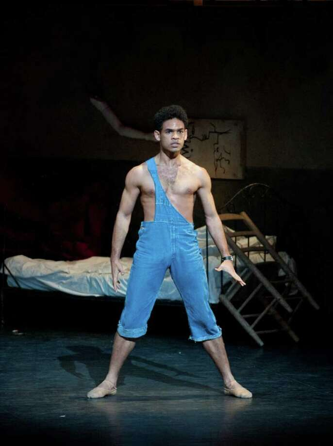 "Above, Yonah Acosta of English National Ballet appears in Roland Petit's iconic ""Le Jeune Homme et la Mort."""