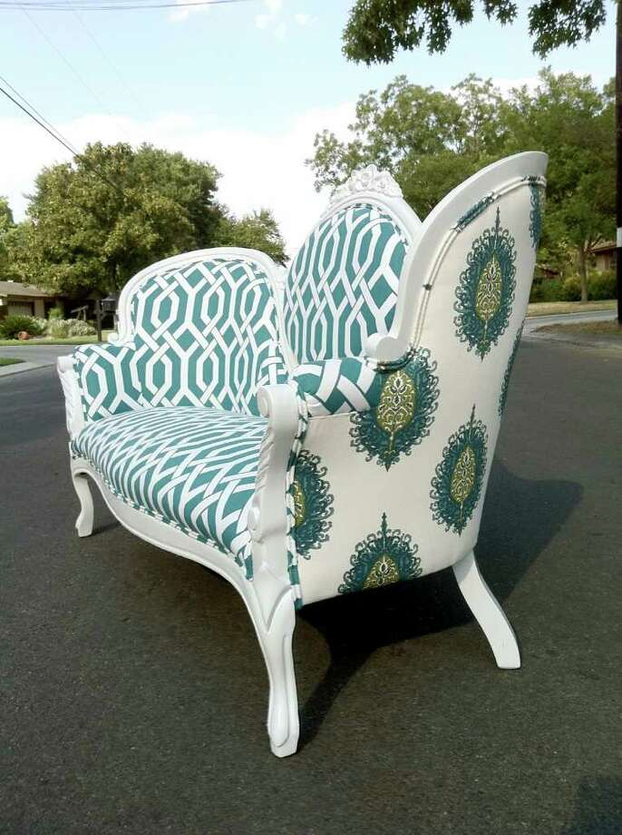 """When revamping furniture to sell in her store or working on a custom piece for a client, Allison Guenther of Haus of Antiquities & Other Curiosities in New Braunfels says, """"We like to use bold fabrics for a fresh and modern feel."""" Photo: Haus Of Antiquities & Other Curi"""