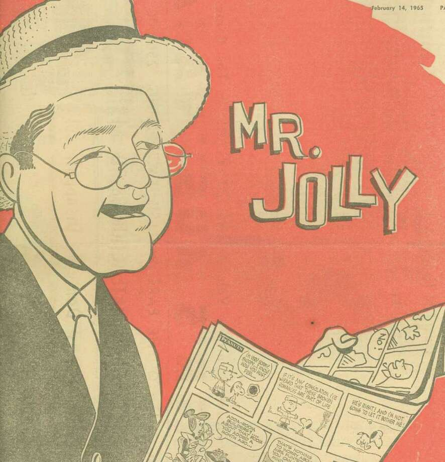 A line drawing of Mr. Jolly, aka Bob Jolly, from an Express-News TV preview cover. Photo: Courtesy San Antonio Public Library