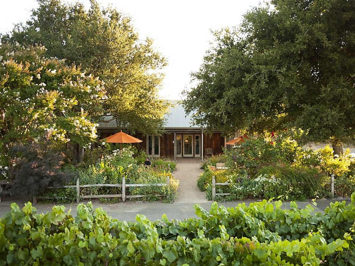The garden doubles as Saintsbury's fair-weather tasting room, overlooking the Carneros vineyards.