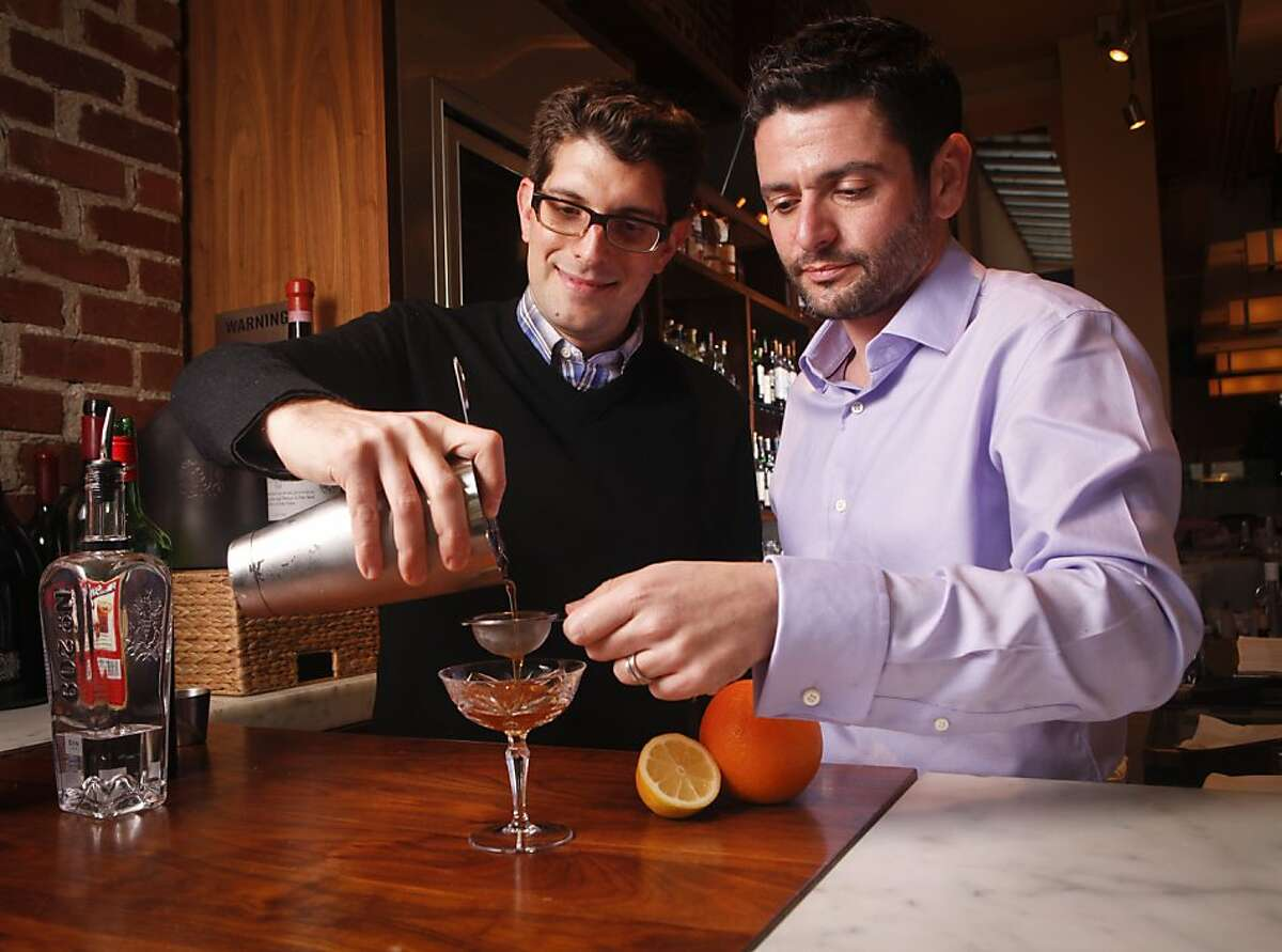 Danny Jacobs and Rob Corwin, creators of Sippingseder.com, make their Passover cocktails at Perbacco on Wednesday, March 28, 2012 in San Francisco, Calif. The two created Passover cocktails inspired by the Seder plate.