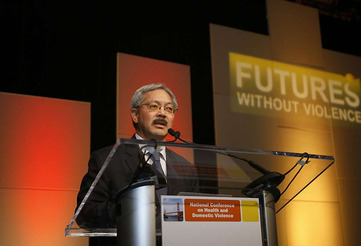 Mayor Ed Lee addresses the audience at the National Conference on Health and Domestic Violence in San Francisco, Ca on March 30, 2012.