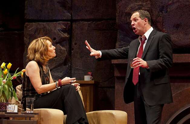 "Veronica Novak (Amy Resnick, left) and Alan Raleigh (Benjamin Evett) disagree about their sons' playground fight in San Jose Rep's production of Yasmina Reza's ""God of Carnage"" Photo: Tim Fuller"