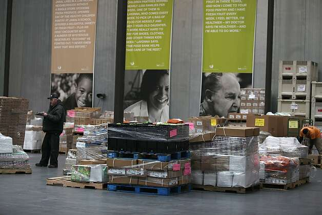 Donated foods being sorted in front of the San Francisco Food Bank in San Francisco, Calif., on Tuesday, March 20, 2012.   The San Francisco Food Bank distributes donated food to low-income families, individuals and more than 400 local nonprofit agencies. Photo: Liz Hafalia, The Chronicle