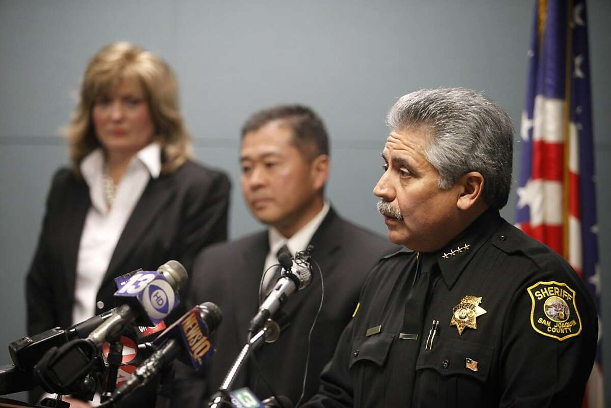 Sheriff Of San Joaquin County takes questions during the press conference. San Joaquin County Sheriff's Department held a press conference releasing more information in the Speed Freak Killers case.