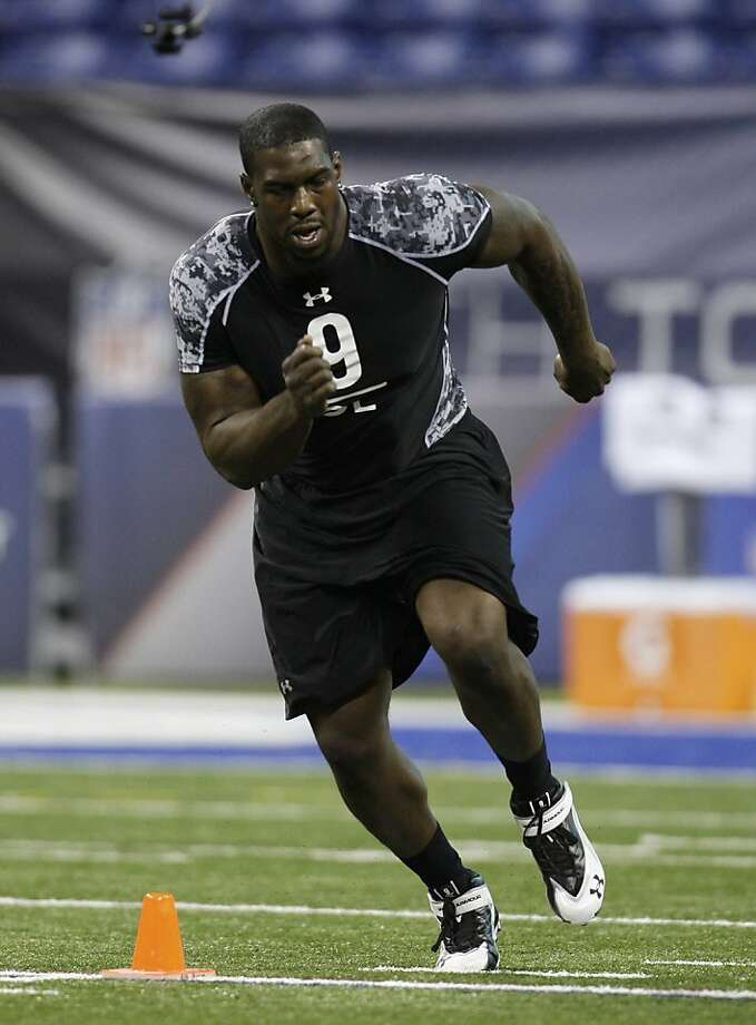 FILE - In this Feb. 27, 2010, file photo, Maryland's Bruce Campbell runs a drill at the NFL football scouting combine in Indianapolis. Campbell is a top prospect in the NFL draft. Photo: Darron Cummings, AP