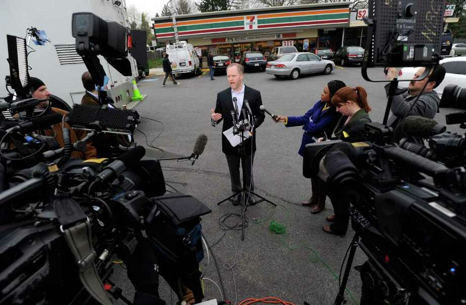 Stephen Martino, director of the Maryland Lottery, speaks to reporters outside a Baltimore 7-Eleven store where one of the winning lottery tickets for the record-breaking $640 million Mega Millions jackpot was sold Saturday, March 31, 2012. Photo: AP