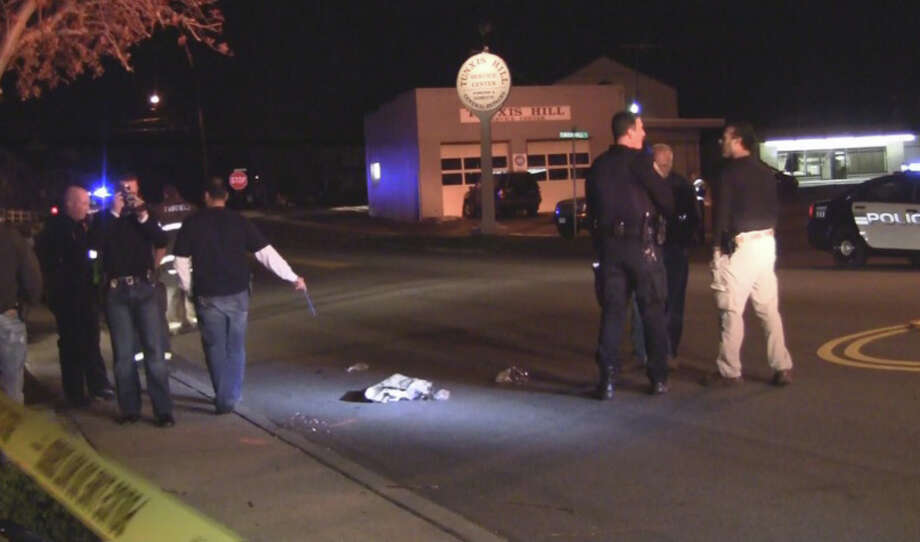 Police investigate the scene on Villa Avenue in Fairfield where a pedestrian was struck and injured by a car Friday night. Photo: DoingItLocal.com / Fairfield Citizen contributed