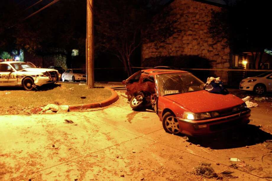 This Acura Integra driven by Vanessa Samudio was struck by a San Antonio police car on April 3, 2008, at 7600 Blanco Road. The officer involved in the crash was Jonathon Berlanga. It was the single most expensive vehicle accident for the city of San Antonio in the past decade. Both drivers survived but Samudio suffered permanent brain damage.