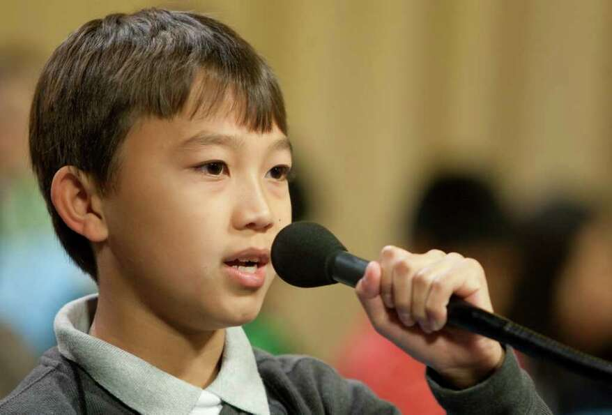Dean Zach, 9, from York Elementary competes in the 2012 Houston PBS Spelling Bee.