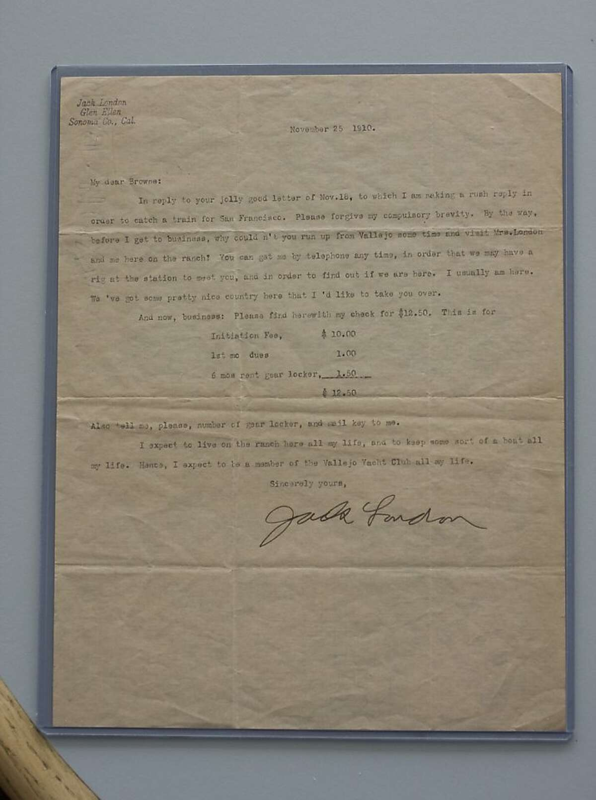 Jack London submitted an application the Vallejo Yacht Club in 1910.