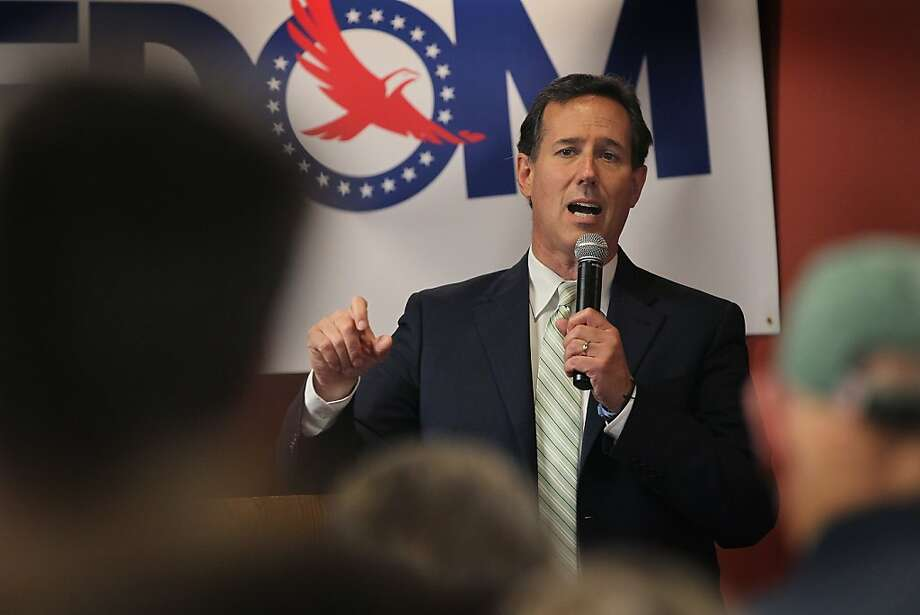 Republican Presidential candidate, former Senator Rick Santorum speaks at a campaign stop at Pioneer Lanes bowling alley March 31, 2012 in Platteville, Wisconsin. Wisconsin residents will go to the polls on April 3 to vote for their choice for the Republican presidential nominee. Photo: Scott Olson, Getty Images