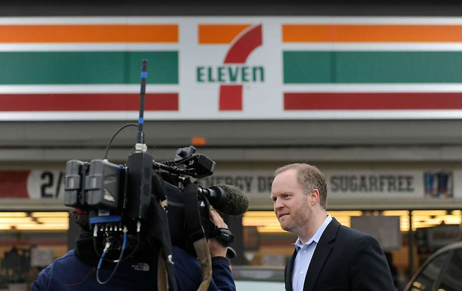 Stephen Martino, director of the Maryland Lottery, speaks to reporters outside a Baltimore 7-Eleven store where one of the winning lottery tickets for the record-breaking $640 million Mega Millions jackpot was sold Saturday, March 31, 2012. Photo: Steve Ruark, Associated Press