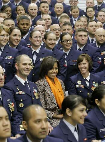 First Lady Michelle Obama, joins the crew aboard the vessell as she helps to commission the United States Coast Guard Cutter Stratton on Coast Guard Island, on Saturday March 31, 2012, in  Alameda, Ca. Photo: Michael Macor, The Chronicle
