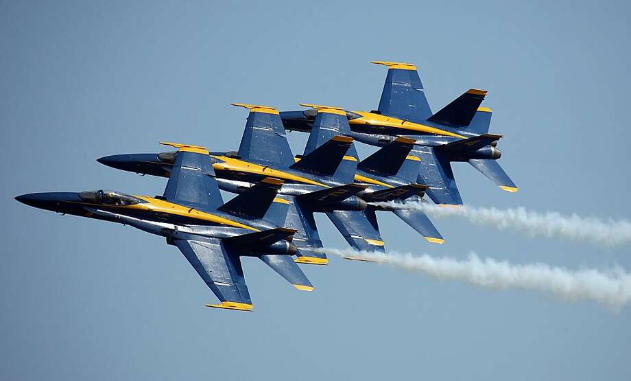 The U.S. Navy Blue Angels perform during the Tuscaloosa Regional Air Show at the Tuscaloosa Regional Airport Saturday, March 31, 2012 in Tuscaloosa, Ala.(AP Photo/Tuscaloosa News, Michelle Lepianka Carter) Photo: Michelle Lepianka Carter, Associated Press