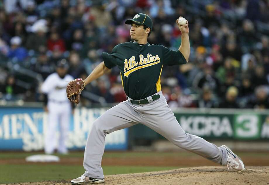 Oakland Athletics pitcher Tommy Milone delivers a pitch during an exhibition baseball game against Triple-A Affiliate the Sacramento River Cats in Sacramento, Calif., Saturday, March 31, 2012 (AP Photo/Steve Yeater) Photo: Steve Yeater, Associated Press