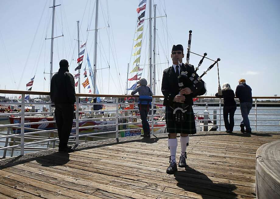As part of the welcoming for the Edinburgh ship, Jeff Campbell played the bagpipes as the boat docked in the Marina. Jack London Square is host to the Clipper Round the World Race 2011-2012. Boats began docking on Friday, March 30, 2012 and continued  arriving on Sunday, April 1, 2012. Photo: Sean Culligan, The Chronicle