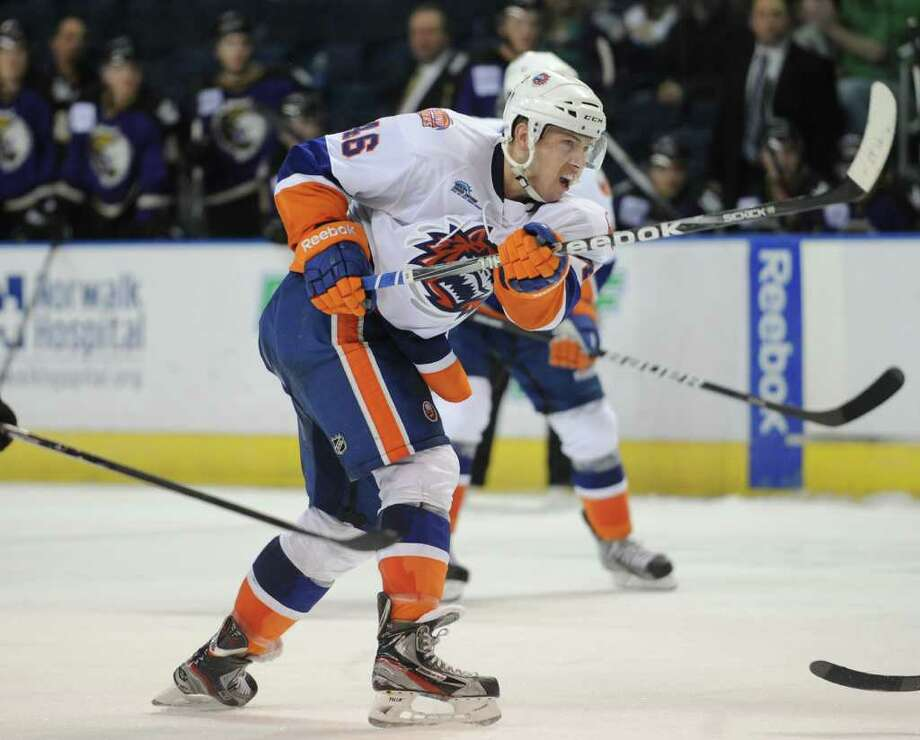 Bridgeport's Matt Donovan. Sound Tigers versus Manchester Monarchs at the Webster Bank Arena in Bridgeport on Sunday, April 1, 2012. Photo: Brian A. Pounds / Connecticut Post
