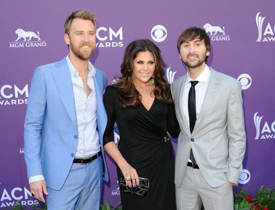 LAS VEGAS, NV - APRIL 01: (L-R) Musicians Charles Kelley, Hillary Scott and Dave Haywood of Lady Antebellum arrive at the 47th Annual Academy Of Country Music Awards held at the MGM Grand Garden Arena on April 1, 2012 in Las Vegas, Nevada.  (Photo by Jason Merritt/Getty Images) (Jason Merritt / Getty Images)