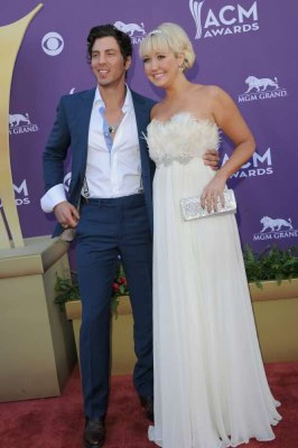 LAS VEGAS, NV - APRIL 01:  Joshua Scott and Meghan Linsey of Steel Magnolia arrive at the 47th Annual Academy Of Country Music Awards held at the MGM Grand Garden Arena on April 1, 2012 in Las Vegas, Nevada.  (Photo by Jason Merritt/Getty Images) (Jason Merritt / Getty Images)