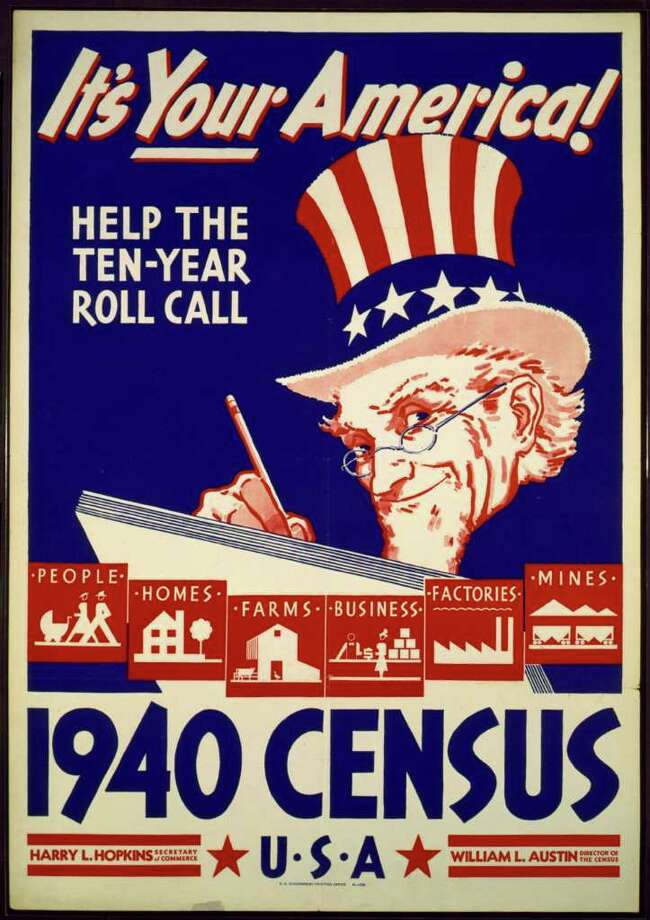 An image provided by the University of Texas at Arlington Library shows an image of a poster used for promotional efforts during the census conducted in 1940. Photo: Library Of Congress / University of Texas at Arlington
