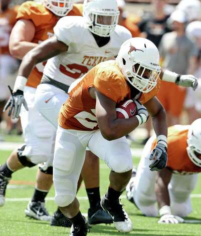 Texas' Malcolm Brown head up field during first half action of the Orange-White Scrimmage held Sunday, April 1, 2012 at Darrell K. Royal Texas Memorial Stadium in Austin. Photo: EDWARD A. ORNELAS, San Antonio Express-News / © SAN ANTONIO EXPRESS-NEWS (NFS)