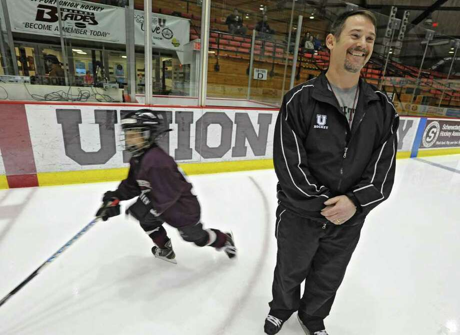 Dr. Wally Bzdell, a psychologist who's been working closely this season with the Union hockey team works with a youth hockey team at Union College Thursday March 29, 2012 in Schenectady, N.Y. (Lori Van Buren / Times Union) Photo: Lori Van Buren