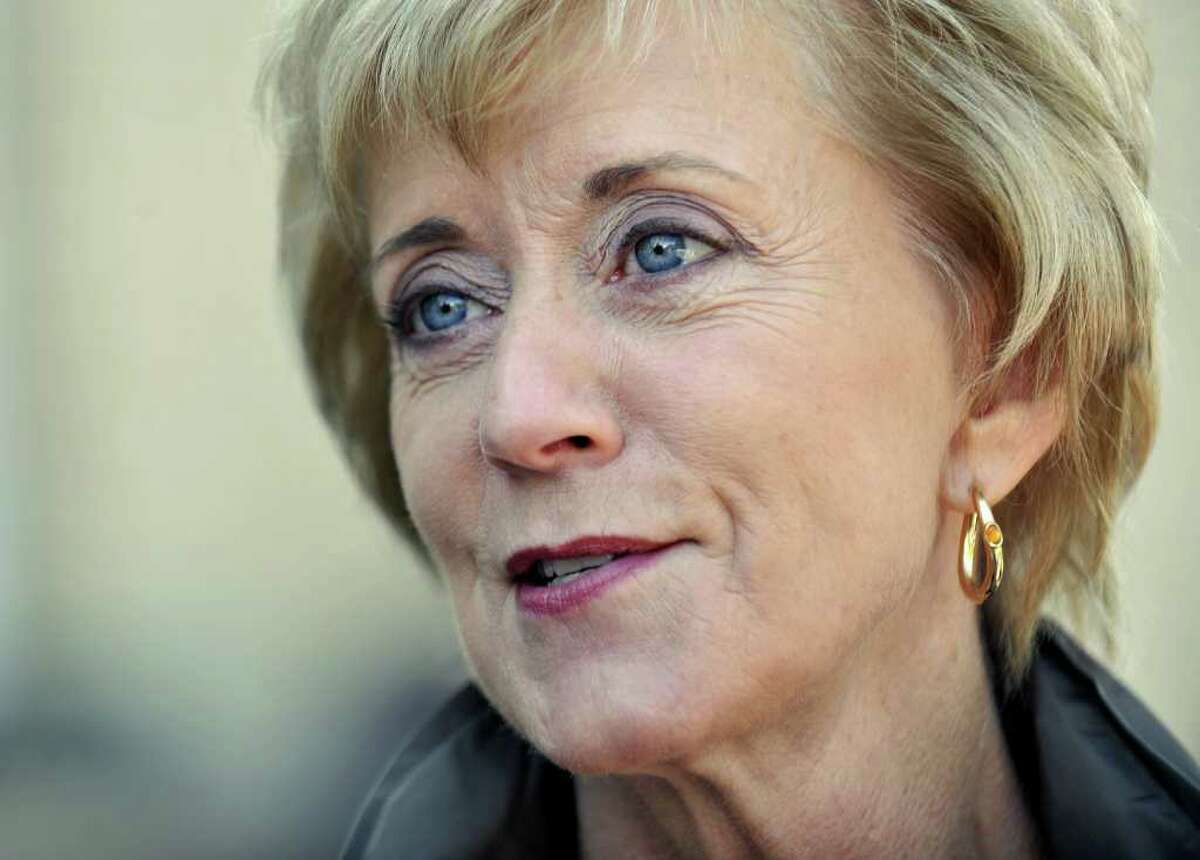 Republican candidate for U.S. Senate Linda McMahon is interviewed by the media during a business tour in Guilford Oct. 14, 2010. (AP Photo/Jessica Hill)