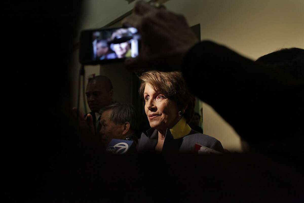 House minority leader Nancy Pelosi leaves a Women's Health Care rally at the Women's Building on the second anniversary of the Affordable Care Act on Friday, March 23, 2012 in San Francisco, Calif.