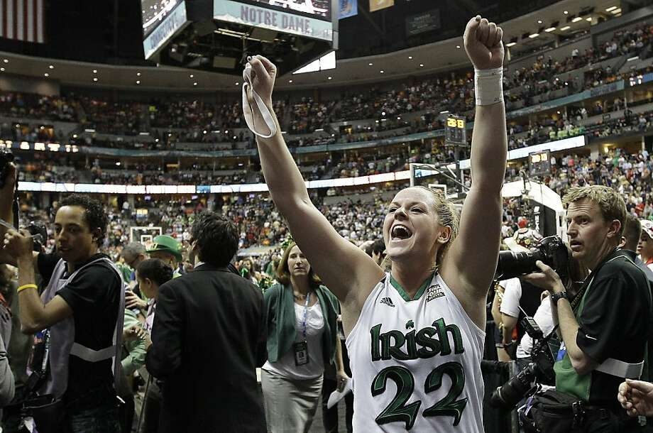 Notre Dame guard Brittany Mallory (22) celebrates victory after an NCAA women's Final Four semifinal college basketball game against Connecticut in Denver, Sunday, April 1, 2012. Notre Dame won 83-75. (AP Photo/Eric Gay) Photo: Eric Gay, Associated Press