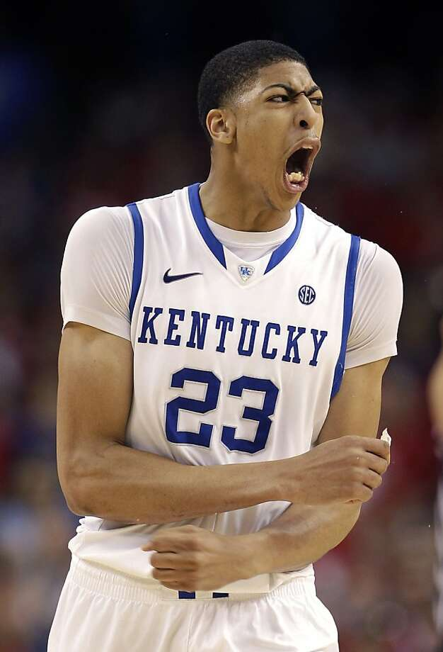 Kentucky forward Anthony Davis (23) reacts during the second half of an NCAA Final Four semifinal college basketball tournament game against Louisville  Saturday, March 31, 2012, in New Orleans. Kentucky won 69-61.  (AP Photo/David J. Phillip) Photo: David J. Phillip, Associated Press