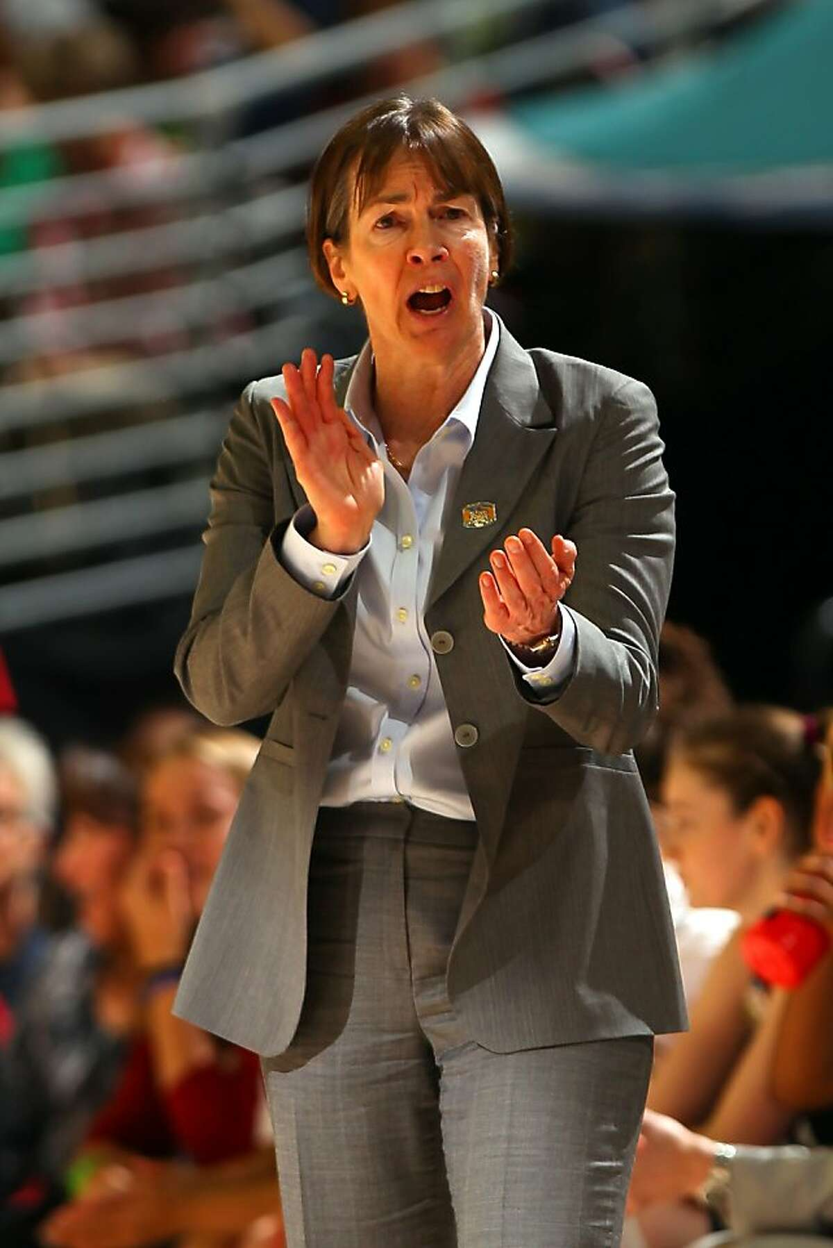 DENVER, CO - APRIL 01: Head coach Tara VanDerveer of the Stanford Cardinal reacts as she coaches in the first half against the Baylor Bears during the National Semifinal game of the 2012 NCAA Division I Women's Basketball Championship at Pepsi Center on April 1, 2012 in Denver, Colorado. (Photo by Doug Pensinger/Getty Images)
