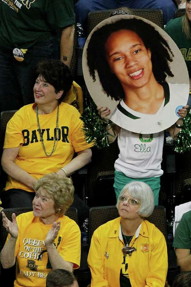 Baylor fans hold up picture of Baylor center Brittney Griner (42) during the first half in the NCAA Women's Final Four semifinal college basketball game against against Stanford, in Denver, Sunday, April 1, 2012. Photo: David Zalubowski, Associated Press