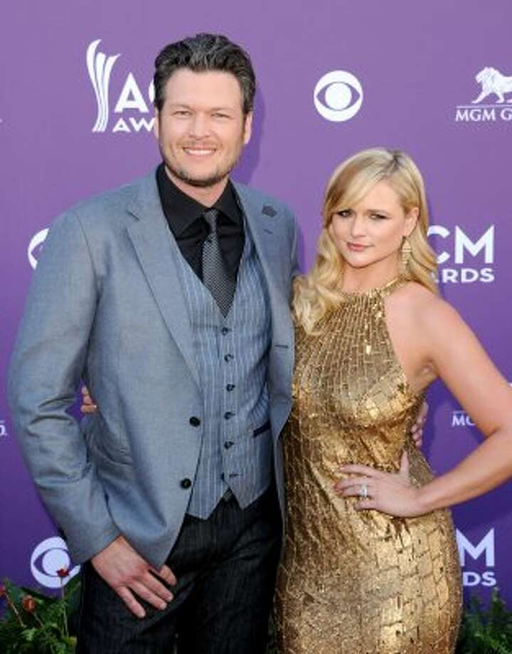 LAS VEGAS, NV - APRIL 01:  (L-R) Co-host Blake Shelton and recording artist Miranda Lambert arrive at the 47th Annual Academy Of Country Music Awards held at the MGM Grand Garden Arena on April 1, 2012 in Las Vegas, Nevada.  (Photo by Jason Merritt/Getty Images) (Jason Merritt / Getty Images)