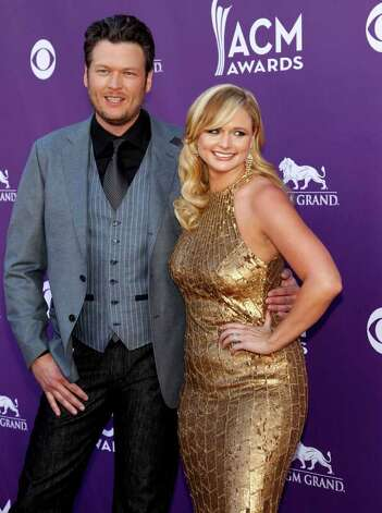 Blake Shelton, left, and Miranda Lambert arrive at the 47th Annual Academy of Country Music Awards on Sunday, April 1, 2012 in Las Vegas. Photo: Isaac Brekken