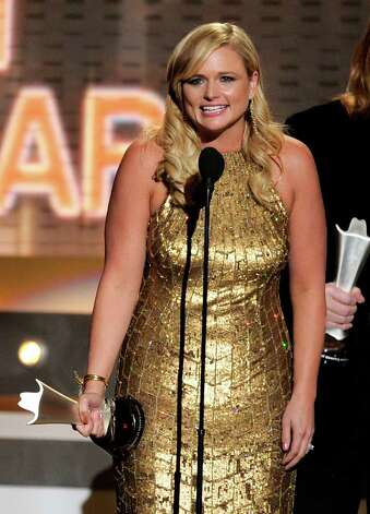 "Miranda Lambert accepts the award for album of the year for ""Four the Record"" at the 47th Annual Academy of Country Music Awards on Sunday, April 1, 2012 in Las Vegas. Photo: Mark J. Terrill"
