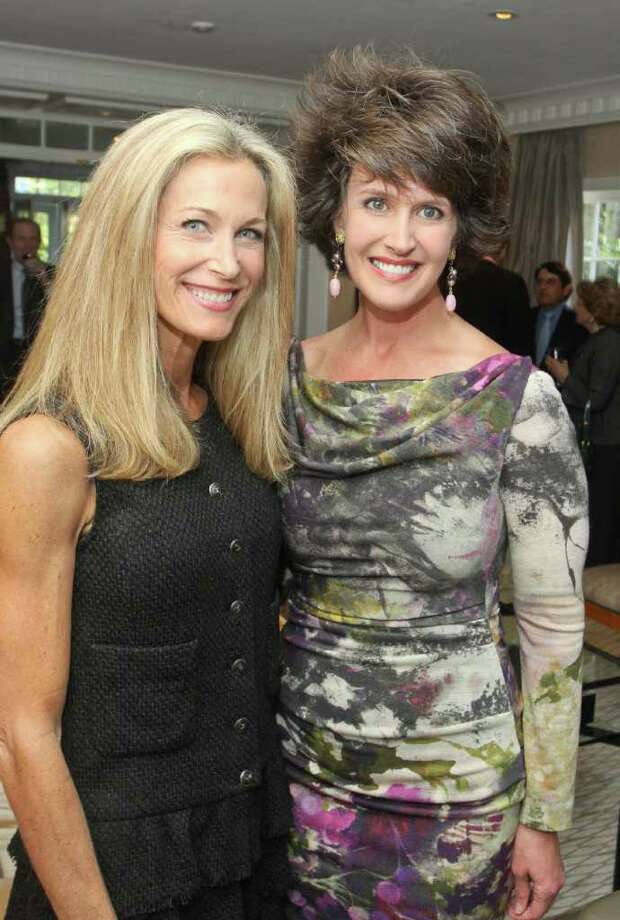 Janet Hobby, left, and Melissa Grobmyer serve as show advisors for the 2012 Houston Fine Art Fair Sept. 14-16. Melissa and Albert Grobmyere hosted a party at their art-filled home to announce sponsorships. Photo: Gary Fountain / Copyright 2012 Gary Fountain.