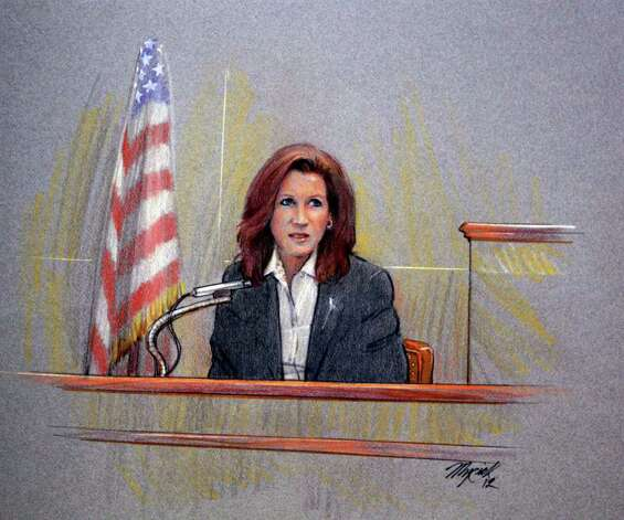 "Courtroom artist Gary Myrick's sketch of local artist Gary Sweeney's wife, Janet, on the stand is a central piece in the exhibition ""The State of Texas v. Gary Sweeney v. The Art Guys."" Photo: Courtesy Gary Sweeney"