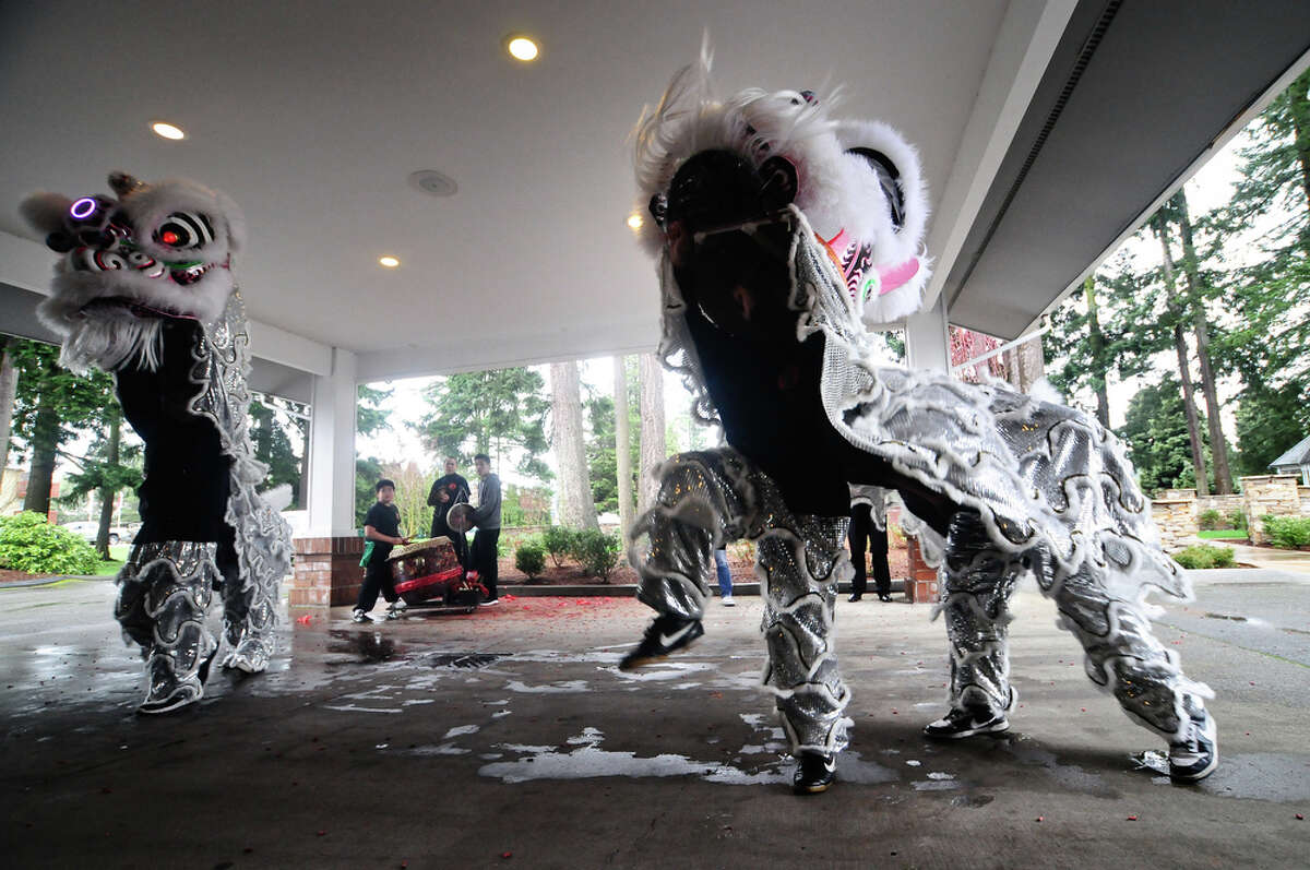 Members of the Mak Fai Washington Kung Fu club perform a lion dance during a Ching Ming Festival event at Greenwood Memorial Park Funeral Home in Renton on Saturday, March 31, 2012. The traditional Chinese and Buddhist festival is also known as Tomb Sweeping Day , as people tend to the gravesites of their ancestors and offer food, incense and prayer.