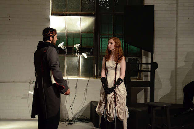 "Aaron Aguilar (from left) and Sarah Nixon play Lord and Lady Macbeth in Proxy Theatre Company's ""Macbeth."" Courtesy Siggi Ragnar"