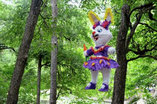 A bunny pinata swings in a tree in Brackenridge park in 2011 -- a San Antonio Easter tradition. Photo: Photo By Dr. Ricardo Romo
