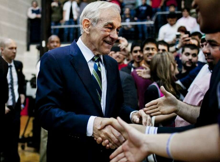 Ron Paul greets supporters during a town hall meeting at the University of Maryland on March 28, 2012 in College Park, Maryland. (T.J. Kirkpatrick / Getty Images)