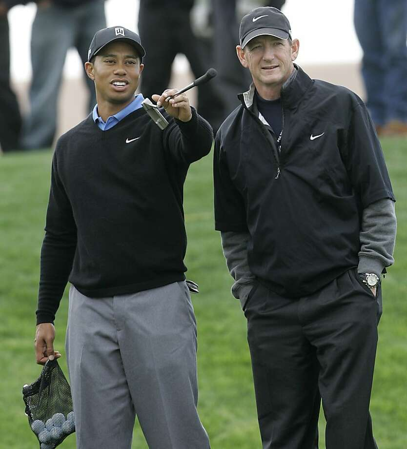 "Hank Haney, the longtime coach for Tiger Woods, seemed befuddled by athletes who seem not to use their athleticism in the celebrity golf tournament at Lake Tahoe. ""Faster, not harder,"" Haney says. ""... Two of the wildest hitters on the tour are Tiger and Phil. You gotta make it go!"" Photo: Lenny Ignelzi, AP"
