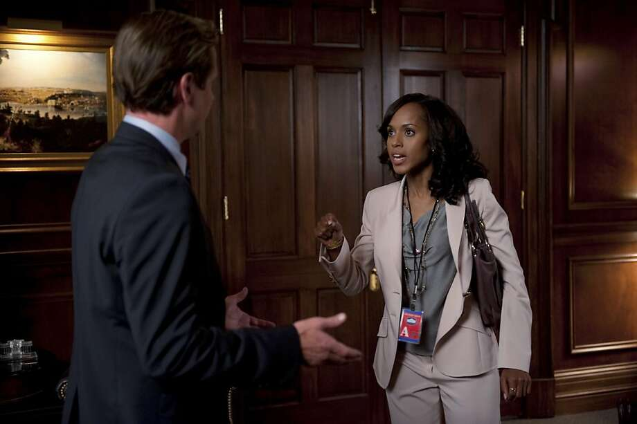 "SCANDAL - ""Dirty Little Secrets"" - When Pope & Associates' newest client, DC Madam Sharon Marquette, is under investigation, the team needs to do everything possible to keep her client list under wraps. The list is literally a Who's Who of DC influentials - and while it's Olivia's job to protect her client, she finds herself protecting a lot more than just the madam. Meanwhile, Quinn runs into some trouble with the President's former intern, Amanda Tanner, on ""Scandal,"" THURSDAY, APRIL 12 (10:01-11:00 p.m., ET) on the ABC Television Network. Photo: Colleen Hayes, ABC"