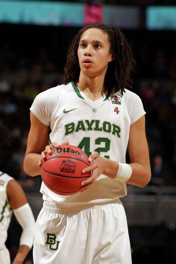 DENVER, CO - APRIL 01:  Brittney Griner #42 of the Baylor Bears gets set to attempt a free throw in the second half against the Stanford Cardinal during the National Semifinal game of the 2012 NCAA Division I Women's Basketball Championship at Pepsi Center on April 1, 2012 in Denver, Colorado.  (Photo by Doug Pensinger/Getty Images) Photo: Doug Pensinger / 2012 Getty Images